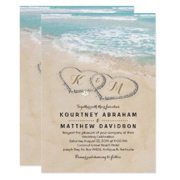 Tropical Vintage Beach Heart Shore Wedding Card