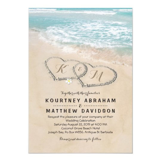Tropical Vintage Beach Heart Shore Wedding Invitation  Zazzlecom