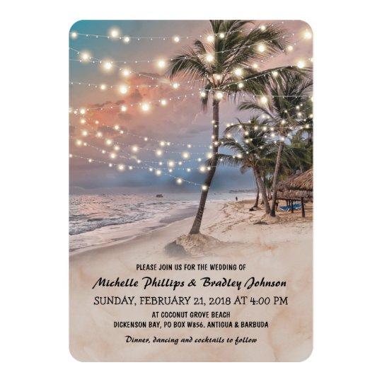 Tropical Vine Beach Lights Wedding Card