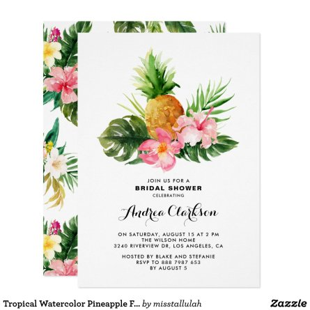 Tropical Watercolor Pineapple Floral Bridal Shower Invitation
