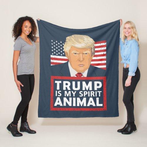 Trump is My Spirit Animal Funny Fleece Blanket