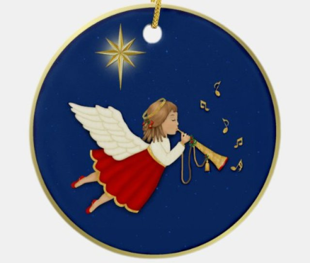Trumpet Angel And Christmas Star Double Sided Ceramic Round Christmas Ornament