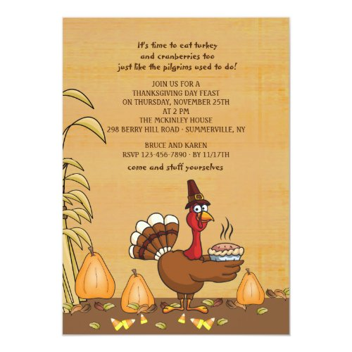 Turkey Dinner Time Thanksgiving Invitation