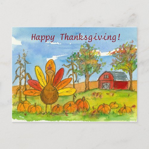 Turkey Red Barn Pumpkin Patch Happy Thanksgiving Holiday Postcard