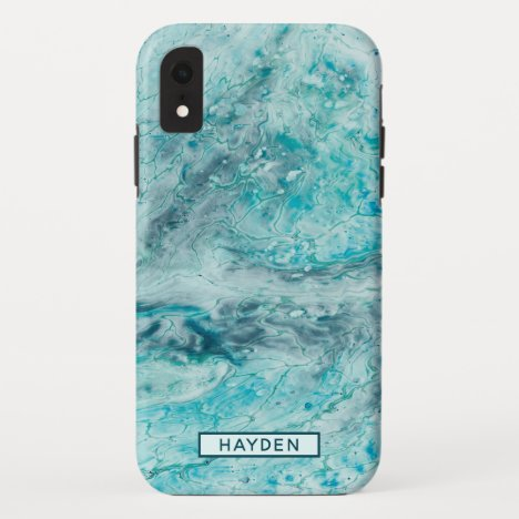 Turquoise Abstract Paint Pour Art Monogram iPhone XR Case