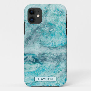Turquoise Abstract Paint Pour Art Monogram iPhone 11 Case