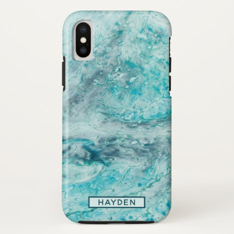 Turquoise Abstract Paint Pour Art Monogram iPhone XS Case
