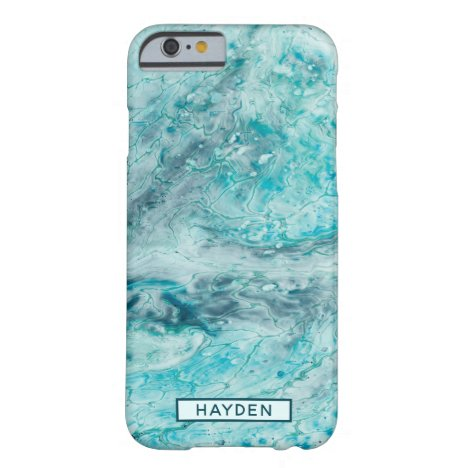 Turquoise Abstract Paint Pour Art Monogram Barely There iPhone 6 Case