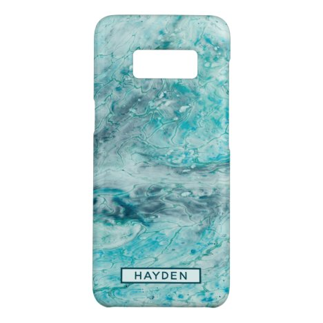 Turquoise Abstract Paint Pour Art Monogram Case-Mate Samsung Galaxy S8 Case