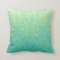Turquoise and Pale Yellow Damask Throw Pillow | Zazzle