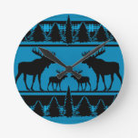 Turquoise blue plaid moose rustic pattern round clock