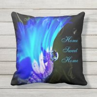 Turquoise Blue & Purple Flower Outdoor Pillow | Zazzle