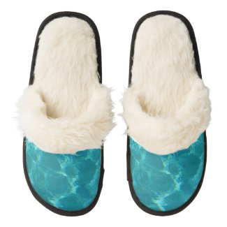 Turquoise Blue Water Fuzzy Slippers Pair Of Fuzzy Slippers