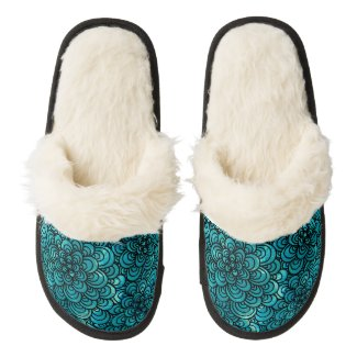 Turquoise Blue Zentangle Fuzzy Slippers Pair Of Fuzzy Slippers