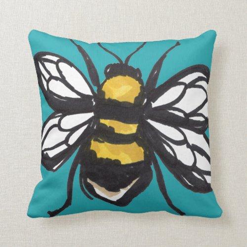 Turquoise Humble Bumblebee Cushion