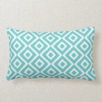 Turquoise Ikat Diamonds Lumbar Pillow