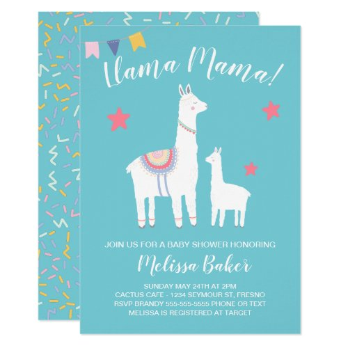Turquoise Llama Mama and Baby Cute Baby Shower Invitation