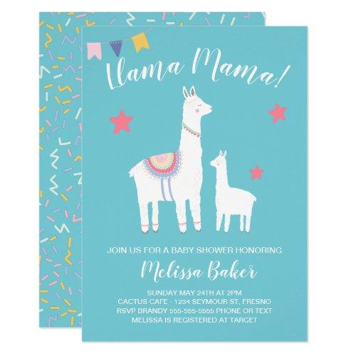 Turquoise Llama Mama and Baby Cute Baby Shower Invitation