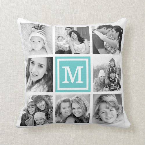 Turquoise Monogram Instagram Photo Collage Pillow