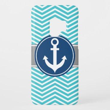 Turquoise Nautical Anchor Chevron Case-Mate Samsung Galaxy S9 Case
