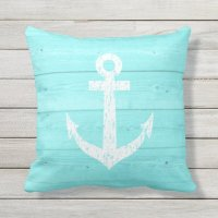 Turquoise nautical anchor outdoor throw pillow | Zazzle