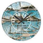 Turquoise Peeling Wood Beach House  Roman Numeral Large Clock