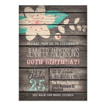 Turquoise, Pink Flower, Rustic Adult Teen Birthday Card