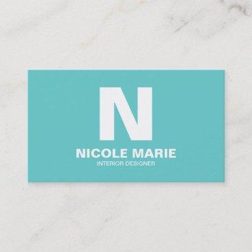 Turquoise Simple Monogram Business Card