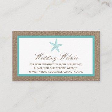 Turquoise Starfish Burlap Beach Wedding Collection Enclosure Card