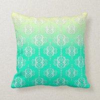 Turquoise to Yellow Damask Pattern Throw Pillow | Zazzle