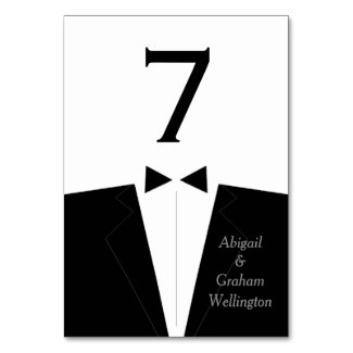 Tuxedo Table Number Card Table Card