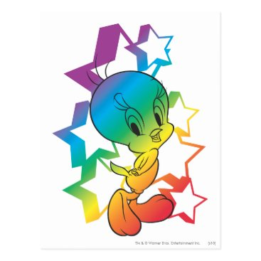 Tweety Rainbow Stars Postcard