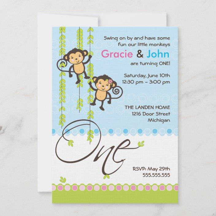 twin boy and girl first birthday invitation zazzle com