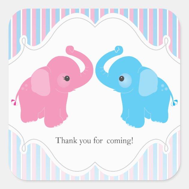 Twin Boy Amp Girl Elephant Baby Shower Favor Sticker