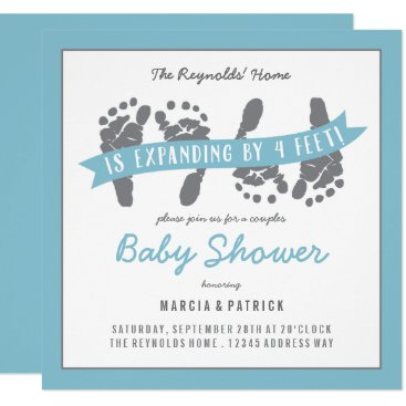 Twin Boys Couples Shower Blue and Gray Baby Shower Card