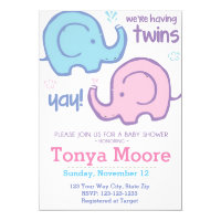 Twin Elephant Baby Shower Invitation (fraternal)