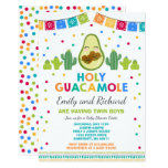 Twin Fiesta Baby Shower Invitation Holy Guacamole