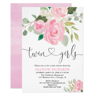 Twin S Baby Shower Blush Pink Green Fl Invitation