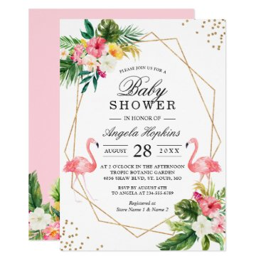 Twin Girls Baby Shower Tropical Floral Flamingos Card
