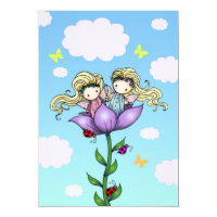 Twin Girls Fairy Birthday Party Invitations