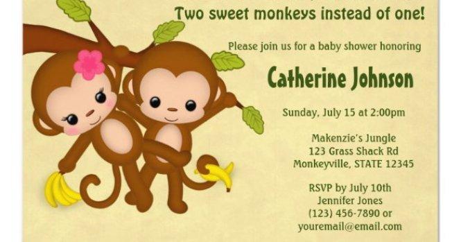 Twin Monkeys Baby Shower Invitations Boy