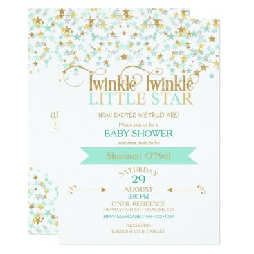 Twinkle Little Star Baby Shower Gold & Mint Invitation
