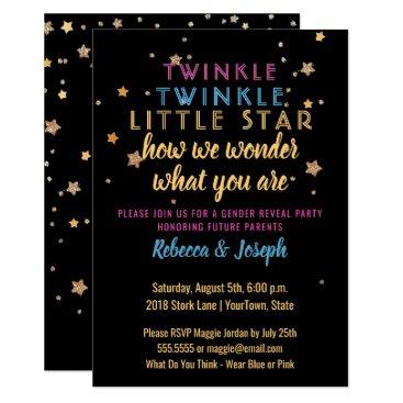 Twinkle Little Star Gender Reveal Party Invitation