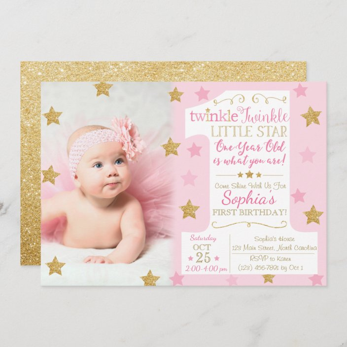 twinkle twinkle little star birthday invitation zazzle com