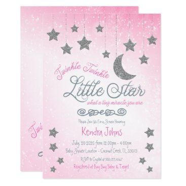 Twinkle Twinkle, Pink Baby Shower invitation