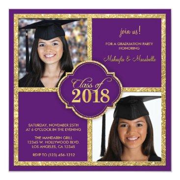 Twins Elegant Black & Purple Glitter Class of 2018 Card