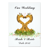 Two Brides Giraffes Cute Gay Wedding Invitation