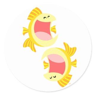 Two Cute Cartoon Fish Sticker sticker