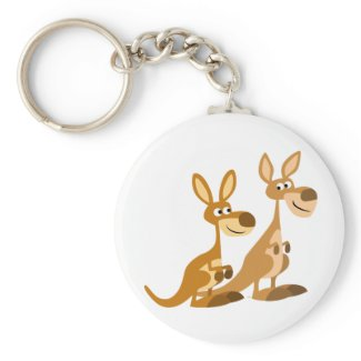 Two Cute Cartoon Kangaroos Keychain keychain