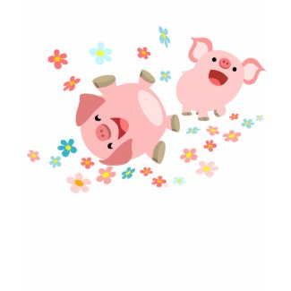 Two Cute Cartoon Pigs in Spring Women T-Shirt shirt